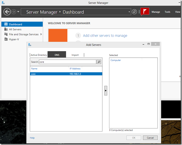 Configuring HYPER-V server 2012 free edition for Remote Management (4/5)